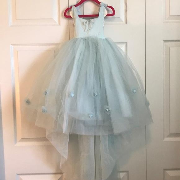 ba646fc2f83 Flower Girl Easter Dress Pale Blue w lace trim